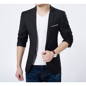 Mens Black Single Button Slim Fit Blazer