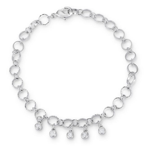 ".55 Ct Stunning 8"" Rhodium Bracelet with Cubic Zirconia Charms"