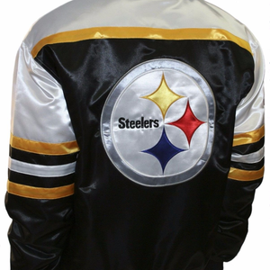 Men's Pittsburgh Steelers Black and Yellow Era Satin Jacket