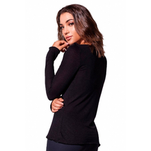 Black Linen V-neck Top
