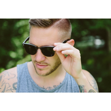 Men's & Women's Black Handcrafted Vintage Wood Sunglasses - Black Polarized Lenses