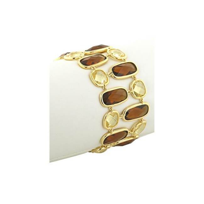 Brown Topaz and Yellow Cubic Zirconia Fashionista Bracelet