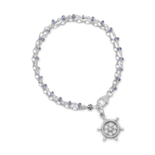 Double Strand Bracelet with Tanzanite and Ships Helm Charm
