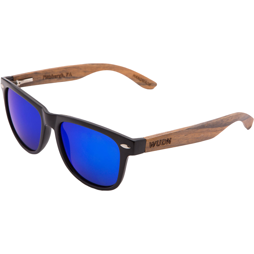 Mens & Women's Handmade Walnut Wood Hybrid Wayfarer - Blue Polarized Lenses