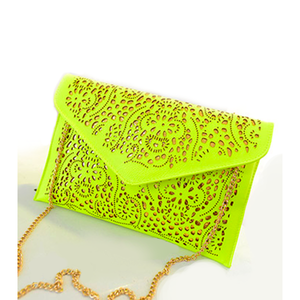 Laser Cut Clutch with Chain by Coseey