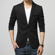 Mens Classic Black One Button Slim Fit Blazer