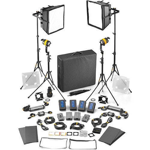 Dedolight DLED4/Felloni 2x2 Bi-Color 4-Light Master Kit (Mains & Battery Operation)