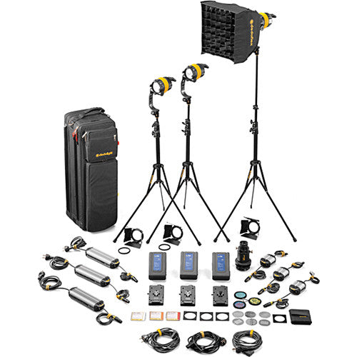 Dedolight DLED4-BI Bi-Color LED 3-Light Master Kit (Mains & Battery Operation)