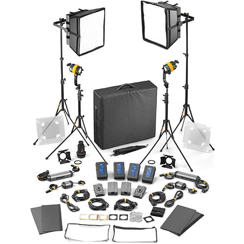 Dedolight DLED4/Felloni 2x2 Daylight 4-Light Master Kit(Mains & Battery Operation)
