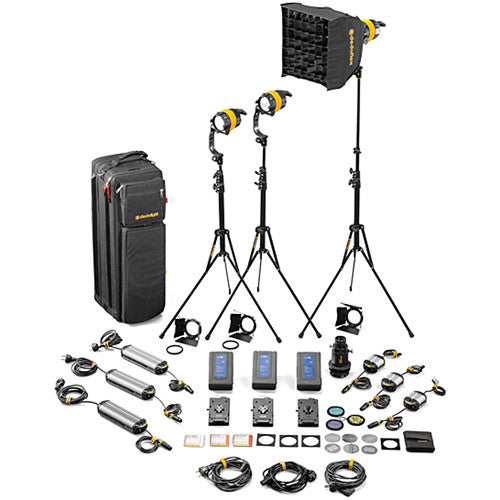 Dedolight DLED4-D Daylight LED 3-Light Master Kit (Mains & Battery Operation)