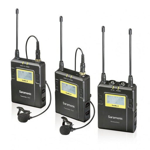 Saramonic UWMIC9 UHF Wireless Receiver With DUAL Body Pack Transmitter And Lavalier Mic Package