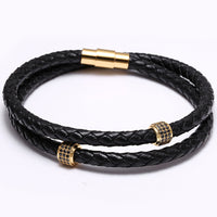 Bracelets Stainless Steel Black Leather
