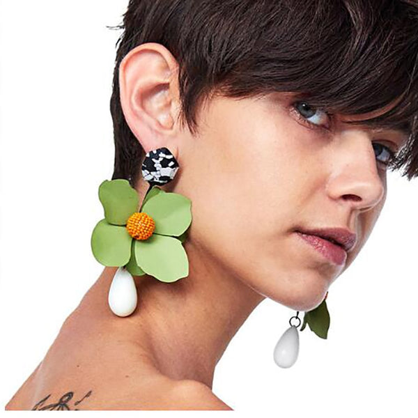 Big Flowers Drop Earrings Jewelry