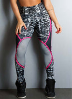 Geometric Lines Printing Hip Push Up Leggings  Elastic High Waist Legging Breathable Slim Pants