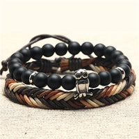 Skull With Leather Rope Bracelet
