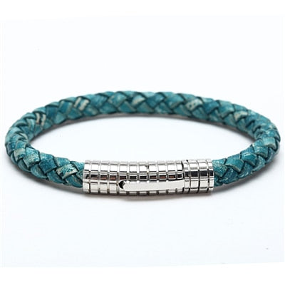 Leather Titanium Stainless Steel Bracelet
