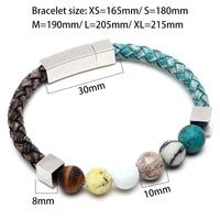 Natural Stone Leather Stainless Steel Bracelet