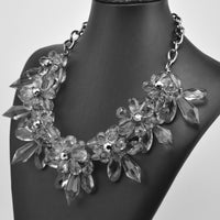 Transparent Crystal Flower  Necklace