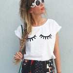 Summer Short Sleeve Cute Eyes Eyelashes Print T-shirt