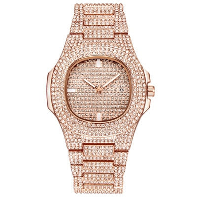 Fashion Stainless Steel Luxury Diamond Quartz With Date Watch