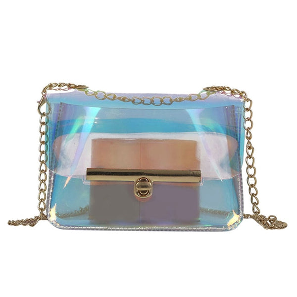 Transparent PU Leather Chain Shoulder Luxury Cross Jelly Vintage Mini Handbag