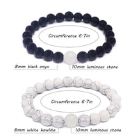 Glow in the Dark Couple Bracelets Natural Stone Buddha Luminous