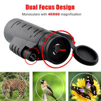 Dual Focus 40x60 Monocular Telescope Wide-angle Magnifier Telescope With phone Lens Dust Cover Compass for iPhone & Samsung