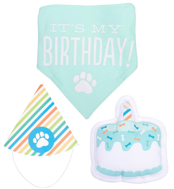 Pet Birthday Pawty Kit - Includes Toy, Hat and Bandana - In Pups We Trust