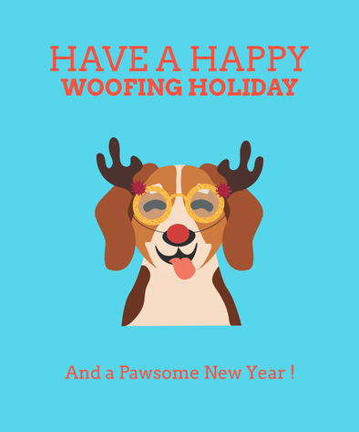 Happy Woofing Holidays | Dog Christmas Card
