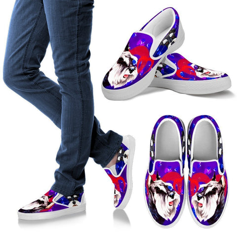 Valentine's Day Special-Miniature Schnauzer Dog Print Slip Ons Shoes For Women-Free Shipping-Paww-Printz-Merchandise