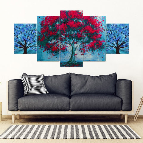 Tree Art Print 5 Piece Framed Canvas- Free Shipping-Paww-Printz-Merchandise