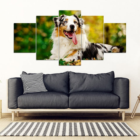 Australian Shepherd Dog Print New 5 Piece Framed Canvas- Free Shipping-Paww-Printz-Merchandise