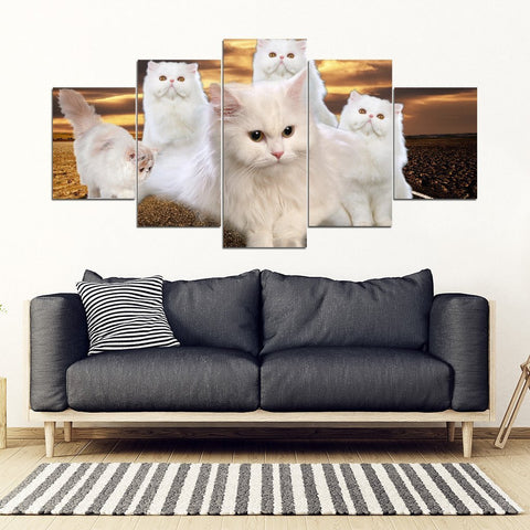 White Persian Cat Print- 5 Piece Framed Canvas- Free Shipping-Paww-Printz-Merchandise
