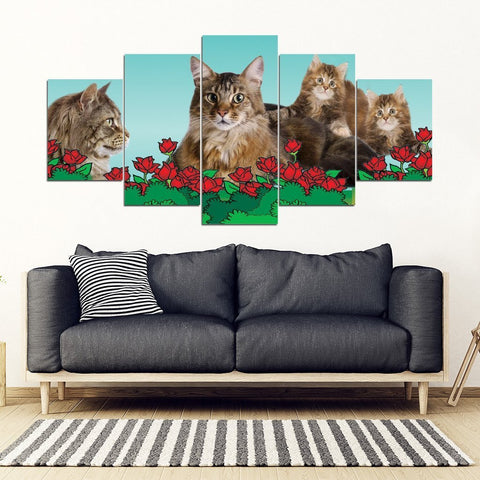 Maine Coon Cat2 Print-5 Piece Framed Canvas- Free Shipping-Paww-Printz-Merchandise
