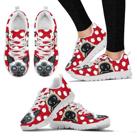 Balinese Cat Christmas Running Shoes For Women- Free Shipping-Paww-Printz-Merchandise