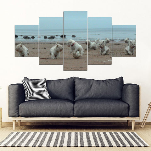 West Highland White Terrier (Westie) Print-5 Piece Framed Canvas- Free Shipping-Paww-Printz-Merchandise