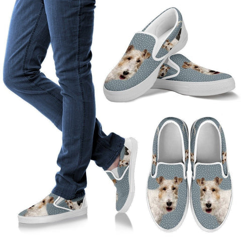 Wire Hair Fox Terrier Print Slip Ons For Women-Express Shipping-Paww-Printz-Merchandise