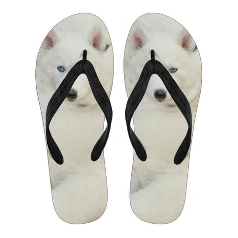 White Husky Puppy Flip Flops For Men- Free Shipping-Paww-Printz-Merchandise