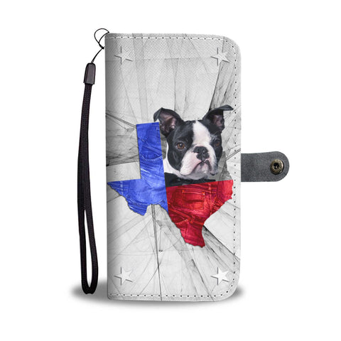 Lovely Boston Terrier Print Wallet Case- Free Shipping-TX State