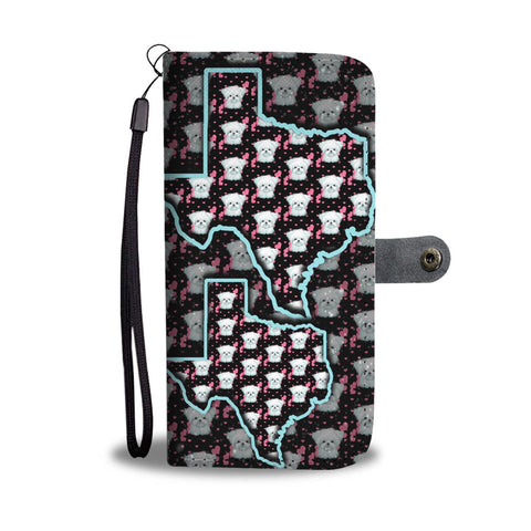 Maltese Dog Pattern Print Wallet Case-Free Shipping-TX State