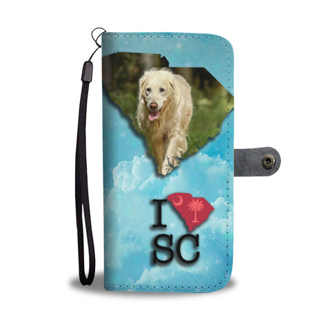 Cute Golden Retriever Print Wallet Case-Free Shipping-SC State