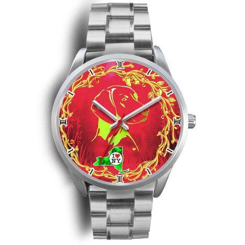Vizsla Dog Art ON Red New York Christmas Special Wrist Watch-Free Shipping