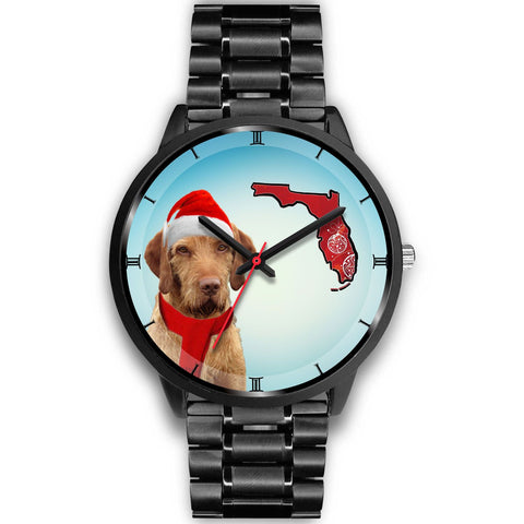 Wirehaired Vizsla On Christmas Florida Wrist Watch-Free Shipping