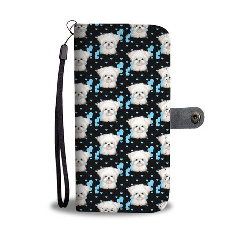 Cute Maltese Dog Pattern Print Wallet Case-Free Shipping