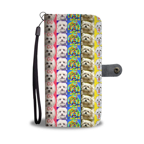 Maltese Dog Pattern 2 Print Wallet Case-Free Shipping