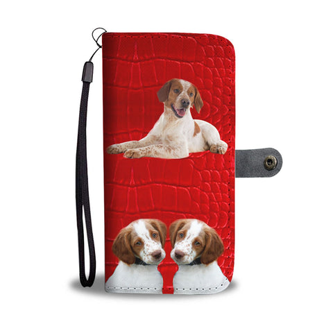 Brittany dog On Red Print Wallet Case-Free Shipping