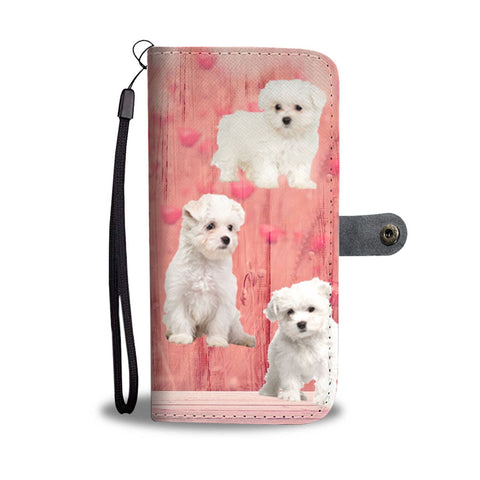 Maltese Dog On Pink Print Wallet Case-Free Shipping