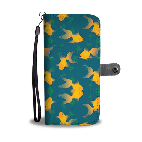 Yellow Fish Print Wallet Case-Free Shipping