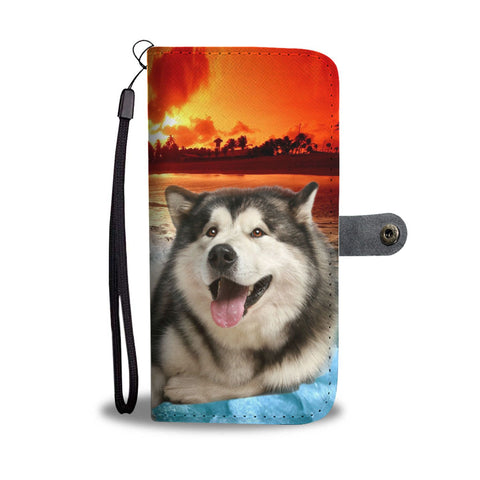 Laughing Alaskan Malamute Wallet Case- Free Shipping