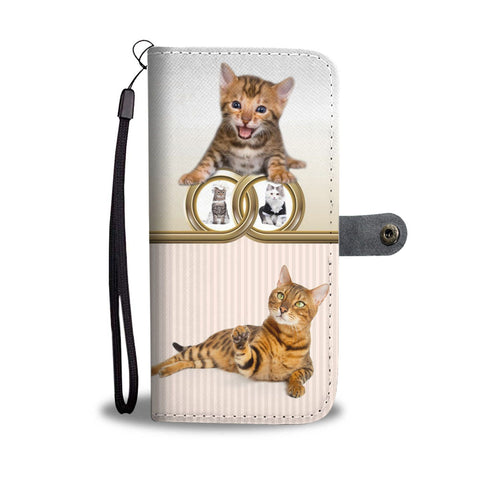 Cute Bengal Cat Print Wallet Case-Free Shipping